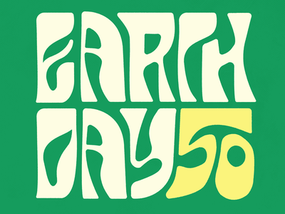 Earth Day 50 green earth day lettering typography