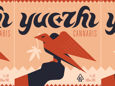 Yuezhi (2 of 4) illustration lettering eagle marijuana weed cannabis packaging logo branding typography