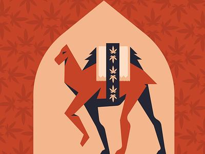 Yuezhi (4 of 4) silk road coaster branding marijuana cannnabis camel logo illustration lettering typography