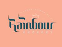Rainbow san francisco rainbow type co-op leaf bag grocery branding typography lettering weekly warm-up logo