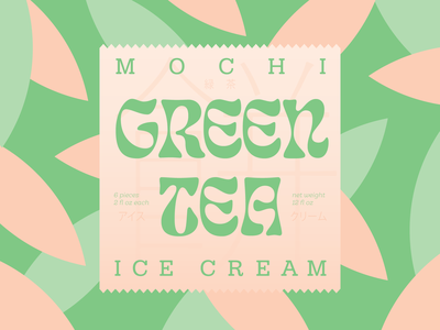Mochi branding leaf green tea packaging mochi green typography ice cream weekly warm-up