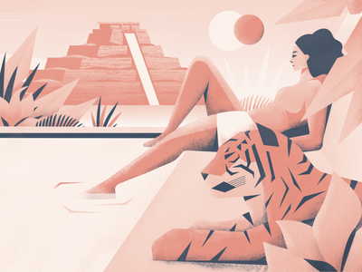 Koh Ker leaves nature jungle true grit pyramid grain gradient eclipse texture procreate cambodia pool woman plants tiger illustration