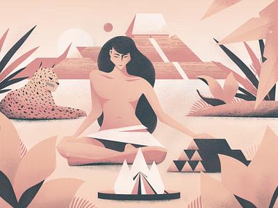 Cahokia illustration procreate true grit grain texture pyramid temple fire woman nature plants lynx