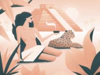 Kukulkan time lapse leaves woman illustration grain true grit texture supply true grit palm sun nature jungle pyramid leopard mexico