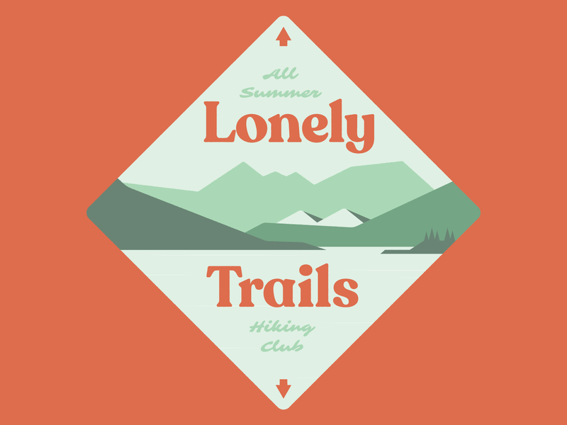 Lonely Trails hiking mountains script weekly challenge summer outdoors lake nature badge logo retro typography illustration weekly warm-up