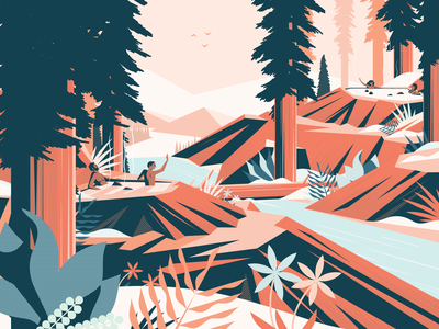 Hot Springs snow river holiday winter trees hot springs nature illustration weekly warm-up