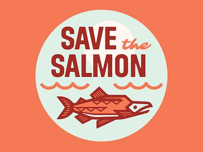 Save the Salmon waterfall river pacific washington northwest chinook fish sticker salmon logo sierra club