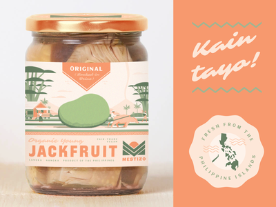 Mestizo farm philippines label packaging food jackfruit retro logo branding plant-based vegetarian vegan