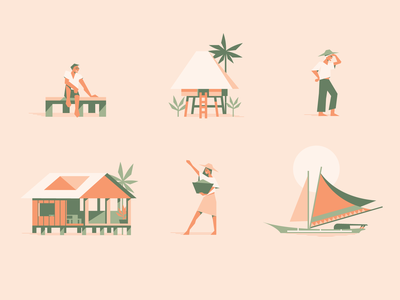 Mestizo (3 of 4) house illustration philippines island womans pattern man farm palm people ocean icons boat