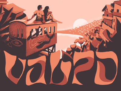 Valpo travel city flowers coast ocean chile procreate postcard weekly warm-up illustration typography