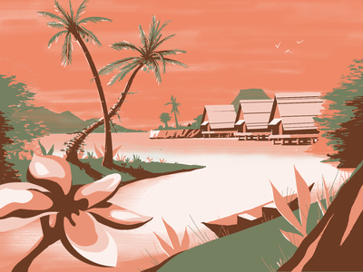 Huts plants coconut huts water nature landscape flower jungle palm tropical river island illustration weekly warm-up