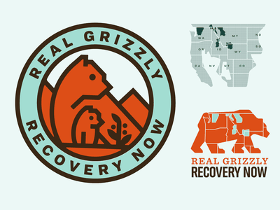 Grizzly Recovery logo map grizzly bear sierra club
