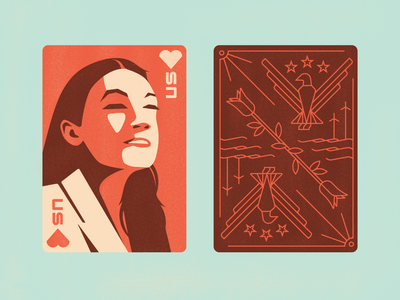 AOC Playing Card green new deal dsa eagle rose hearts illustration alexandria ocasio-cortez aoc playing card weekly warm up weekly challenge