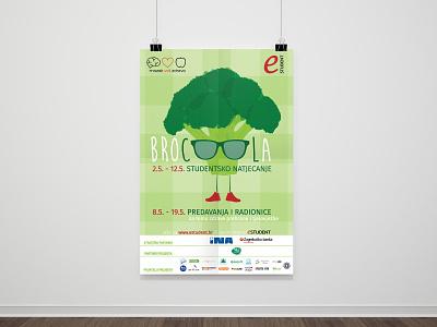 Brocoola poster healthy veggies vegetable green typography branding logo vector illustration graphicdesign design