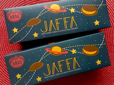 Jaffa cookie package mockup package cookie planets modern universe typography icon rebranding branding vector illustration graphicdesign design