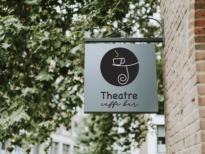 Caffe bar Theatre icon typography caffee drawing blue and white new rebranding branding vector illustration graphicdesign design