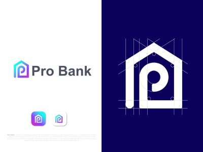 Modern P letter logo design for Pro Bank company bank logo gfx house logotypes p modern logo modern design minimal logotype logo mark logodesigns letter logo lettering logo business identity branding design branding brand and identity app logo app icon agency branding agency