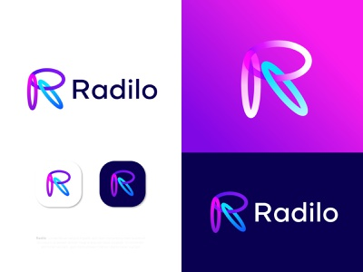 Modern R letter logo design Radilo logo designer for hire logotype brand identity branding logo agency logo mark r letter r logo modern logo minimalist logo creative logo r letter logo lettermark lettering modern logo designer best designer ecommerce memorable colorful eye catching
