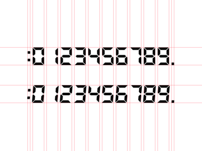 BF LCD Numeric typography font design lcd digital