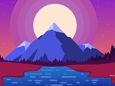 Purple Himalayas himalayas nepal karma minimal ux vector web illustrator design illustration