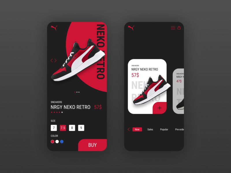 Puma  app concept concept mobile sneaker minimal shop sport ui ux design