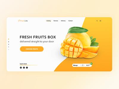 Fruits delivery website design delivery fruit fruits landing page orange yellow web ui ux webdesign main page creativity mango