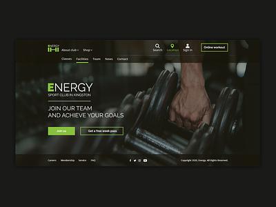 Sport Club landing fitness web ux  ui green health web design website sport gym exercise design