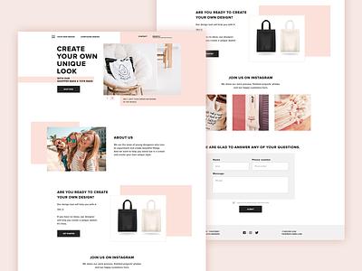 Shop tote bag bag pink ui ux web design website design