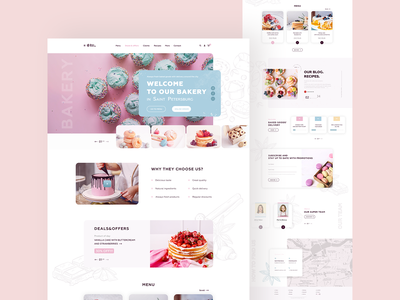 Home Bakery website pink creative web design bakery ui