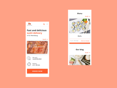 Food Delivery Service on Mobile food web design creative mobile delivery red sushi delivery service ui
