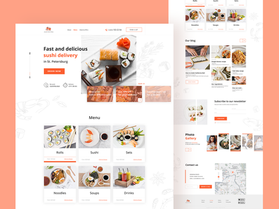 Food Delivery Service delivery website creative web design red sushi food delivery service ui