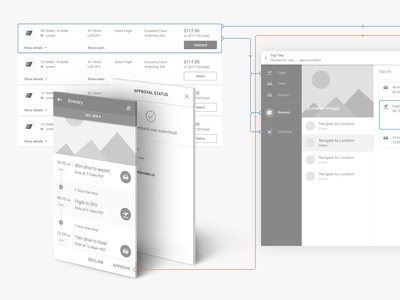 Wireframes for TRAVO Flight Selection and Approval Flow