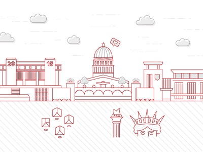 On Wisconsin capital wisconsin badgers monoline iconography digital design design