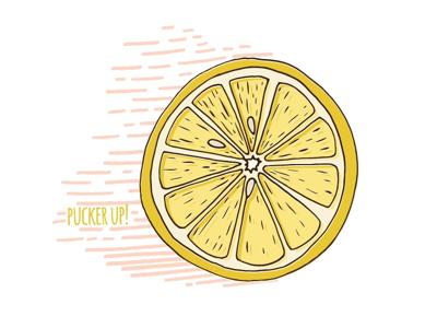 Pucker up! summer lemon design illustrator isolated vector illustration