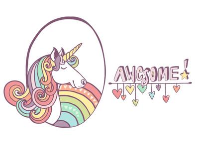 Unicorns are awesome! rainbow pastel hand-lettering creative market vector illustration illustration unicorn