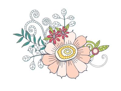 Flower composition floral flowers graphics clipart illustrator illustration vector