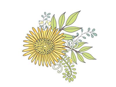 Yellow floral arrangement graphics design illustration adobe illustrator vector