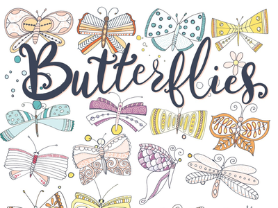 Whimsical Butterflies! design children whimsical illustration illustrator creative market butterflies butterfly
