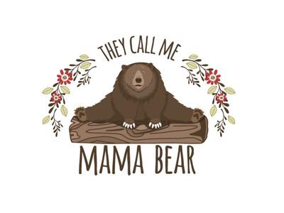 Mama bear children character bear illustration animal forest friends woodland vector