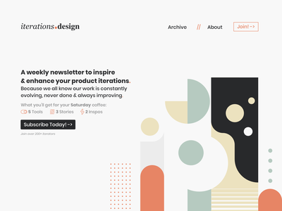 iterations.design uxdesign signup newsletter website design webdesign webflow type design web website minimal typography ui ux branding