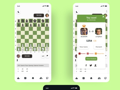 Chess.com In-game Screen mobile app design mobile gaming gui minimal clean uidesign uiux ui board game chess.com chess