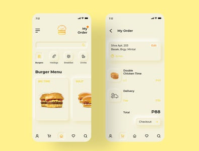 Minute Burger Joint Delivery App Soft UI Design menu screen adobexd food app ui ui trends neumorphic design neumorphism soft ui burger food delivery app