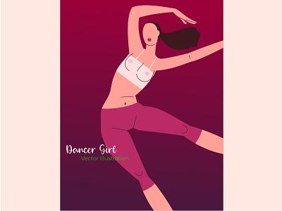 Dancer Girl - Vector Illustration branding girl character typography app illustration flat design ui dance dancer girl vectorart flat illustration