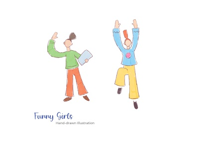 Funny Girls - Hand-drawn Illustration flat illustration app logo girls design flat mobile design apps web design print design ux ui
