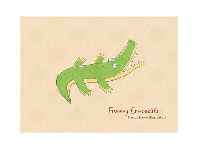 Funny Crocodile - Hand-drawn Illustration crocodile design typography branding logo flat illustration flat mobile design apps web design print design ux ui