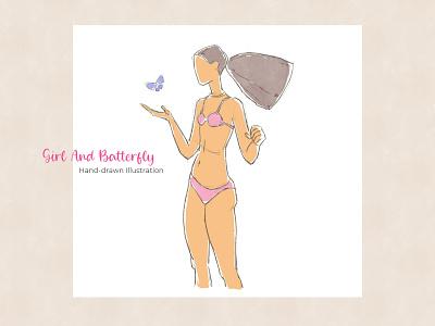 Girl And Batterfly - Hand-drawn Illustration fashion logo girl flat mobile design apps web design print design ux ui