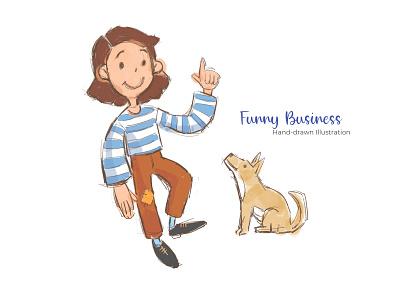 Funny Business - Hand-drawn Illustration typography flat illustration flat mobile design apps web design print design ux ui