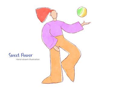 Sweet Power - Hand-drawn Illustration branding character girl flat design flat illustration flat mobile design apps web design print design ux ui