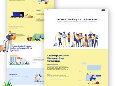 Onebook - Landing Page Website landing page website web design ux ui design illustration