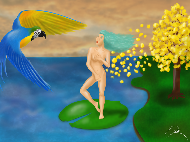 Rereading of The Birth of Venus illustration drawing digital painting digital illustration digitalart